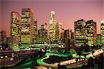 Los Angeles skyline and freeways, illuminated at night, California, United States of America, North America