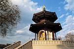 Buddha in the Peace Pagoda, Battersea Park, London, England, United Kingdom, Europe