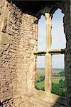 Détail de la fenêtre de Weobley Castle, péninsule de Gower, West Glamorgan, pays de Galles, Royaume-Uni, Europe