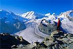 Blick Richtung Lyskamm und Gornergletscher, Gornergrat, Zermatt, Wallis, Schweiz, Europa