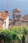 Vue sur les toits du Jardin Exotique, Eze, Alpes-Maritimes, Côte d'Azur, French Riviera, Provence, France, Méditerranée, Europe