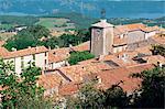 Vue sur le village de Ste Croix Lake, Aiguines, Var, Côte d'Azur, Provence, France, Europe