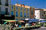 Buildings in the Place du 14 Juillet, Pezenas, Herault, Languedoc-Roussillon, France, Europe