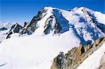 Vue Mont Blanc, Aiguille du Midi, Chamonix, Haute-Savoie, Rhône-Alpes, France, Europe