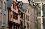 Façades boisées dans la Rue des CPGE St. Ouen, Rouen, Seine-Maritime, Haute-Normandie (Normandie), France, Europe