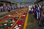 Penitents and street rug, La Merced, Good Friday of Easter Week, Antigua, Guatemala, Central America