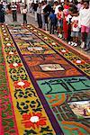 Sawdust rug or carpet on the street, Good Friday, Semana Santa, Antigua, Guatemala, Central America