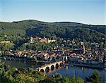 Vue aérienne sur Heidelberg, y compris la rivière Neckar, le vieux pont (Karl Theodor Bruke) et le château d'Heidelberg, Bade Wurtemberg, Allemagne, Europe