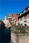 Rodergasse, Rothenburg ob der Tauber, Bavière, Allemagne, Europe