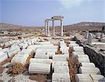 Site archéologique de Délos, Iles Cyclades, Grèce, Europe