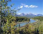 Morants courbe, rivière Bow, gamme Bow, Parc National Banff, Site du patrimoine mondial de l'UNESCO, montagnes Rocheuses, Alberta, Canada, Amérique du Nord