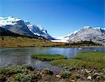 Glacier Athabasca et Sunwapta Lake, montagnes Rocheuses, Parc National Jasper, UNESCO World Heritage Site, Alberta, Canada, Amérique du Nord