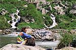 Ruhen von Rio Cares, Zentralmassiv, Picos de Europa, Kantabrien, Spanien, Europa