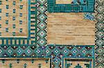 Close-up of turquoise ceramics, Shah-i-Zinda mausoleum, Samarkand, Uzbekistan, Central Asia, Asia