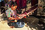 Local girl weaving, San Antonio Aguas Calientes, Guatemala, Central America
