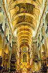 Nave of the baroque church of St. James, Prague, Czech Republic, Europe