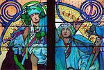 Vitrail de Mucha, cathédrale Saint-Vitus, Prague, République tchèque, Europe