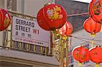 Gerrard Street, Chinatown, during Chinese New Year celebrations colourful lanterns decorate the surrounding streets, Soho, London, England, United Kingdom, Europe