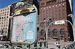 Système de rail de Metra, station de signer dans le style du métro parisien, Chicago, Illinois, États-Unis d'Amérique, Amérique du Nord