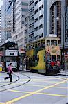 Tramways, île de Hong Kong, Hong Kong, Chine, Asie