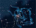 Constellation Taurus With Its Main Star Aldebaran Glowing Orange