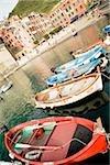 Boats docked at a port, Italian Riviera, Cinque Terre National Park, Piazza Marconi, Il Porticciolo, Vernazza, La Spezia, Liguria, Italy