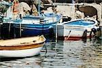 Boats docked at harbor, Marina Grande, Capri, Sorrento, Naples Province, Campania, Italy