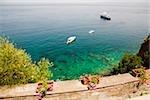 Cruise ship and boats in the sea, Bay of Naples, Sorrento, Sorrentine Peninsula, Naples Province, Campania, Italy
