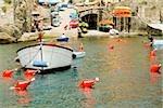 Boat moored at a harbor, Italian Riviera, Genoa, Liguria, Italy