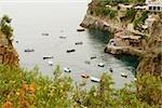 High angle view of boats in the sea, Praiano, Amalfi Coast, Salerno, Campania, Italy