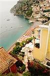 High angle view of town at the seaside, Spiaggia Grande, Positano, Amalfi Coast, Salerno, Campania, Italy