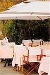Chairs and tables at a restaurant, Italian Riviera, Portofino, Genoa, Liguria, Italy