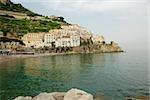 Town at the seaside, Costiera Amalfitana, Amalfi, Salerno, Campania, Italy