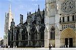 Facade of a church, Bordeaux Cathedral, Tour Pey Berland, Bordeaux, Aquitaine, France