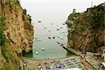 High angle view of boats in the sea, Torre Normanna, Praiano, Amalfi Coast, Salerno, Campania, Italy