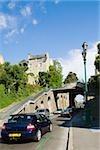 Cars moving under a footbridge, Le Mans, Sarthe, Pays-de-la-Loire, France