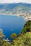High angle view of a coastline, Recco, Italian Riviera, Genoa Province, Liguria, Italy