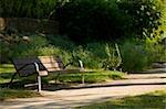 Empty bench in a park, Le Mans, Sarthe, Pays-de-la-Loire, France