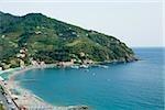 Vue grand angle sur un littoral, Levanto, La Spezia, Ligurie, Italie