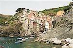 Bâtiments en bord de mer, Parc National des Cinque Terre RioMaggiore Cinque Terre, La Spezia, Ligurie, Italie