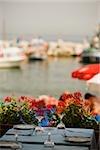 Place setting on a table, Marina Grande, Capri, Sorrento, Sorrentine Peninsula, Naples Province, Campania, Italy