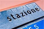 Gros plan d'un panneau d'information, Monterosso al Mare, La Spezia, Ligurie, Italie