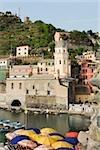 Building at a riverside, Italian Riviera, Cinque Terre National Park, Piazza Marconi, Il Porticciolo, Vernazza, La Spezia, Liguria, Italy