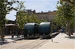 Cable cars on tracks, Quinconces Tram Station, Place des Quinconces, Bordeaux, France
