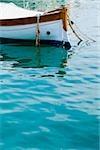 Boat moored in the sea, Italian Riviera, Mar Ligure, Santa Margherita Ligure, Genoa, Liguria, Italy