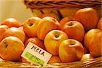 Apples at a market stall, Genoa, Liguria, Italy