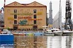Boats moored at a harbor, Porto Antico, Genoa, Liguria, Italy