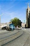 Cable car on tracks, Tour Pey Berland, Bordeaux, France