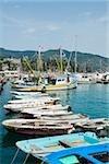 Bateaux amarrés au port, Riviera italienne, Santa Margherita Ligure, Gênes, Ligurie, Italie