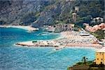 Houses in a town at the seaside, Ligurian Sea, Italian Riviera, Cinque Terre, La Spezia, Liguria, Italy